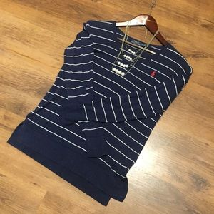 Ralph Lauren blue & white stripe sweater medium